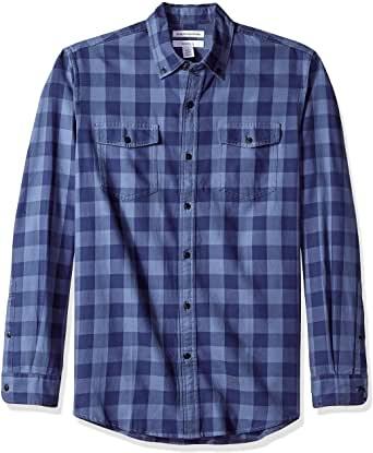 Camisa de sarga ajustada con dos bolsillos y manga larga para hombre