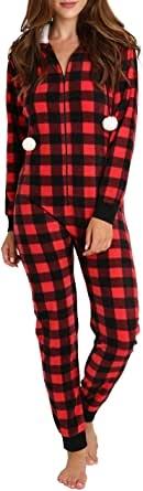 Pijama Onesie para Adultos con Pijama Cuadros de Capucha
